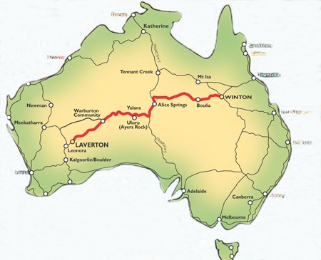 the track cuts through the middle of australia travelling through 3 different states queensland the northern territory and western australia